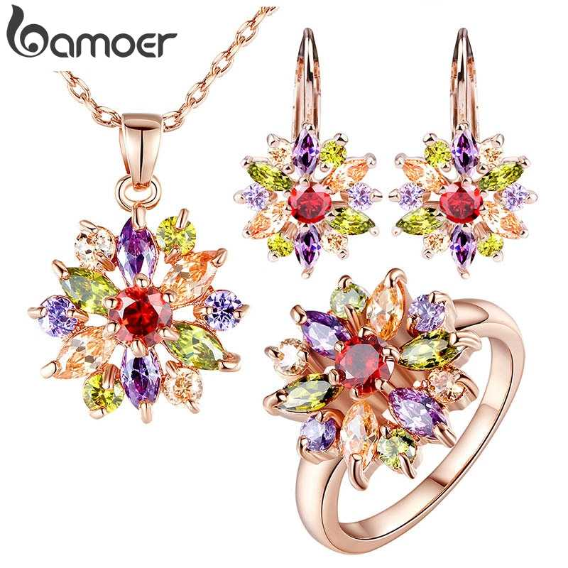 BAMOER  Rose Gold Color Jewelry Sets for Women with High Quality Multicolor AAA Zircon Wedding & Engagement Jewelry ZH017