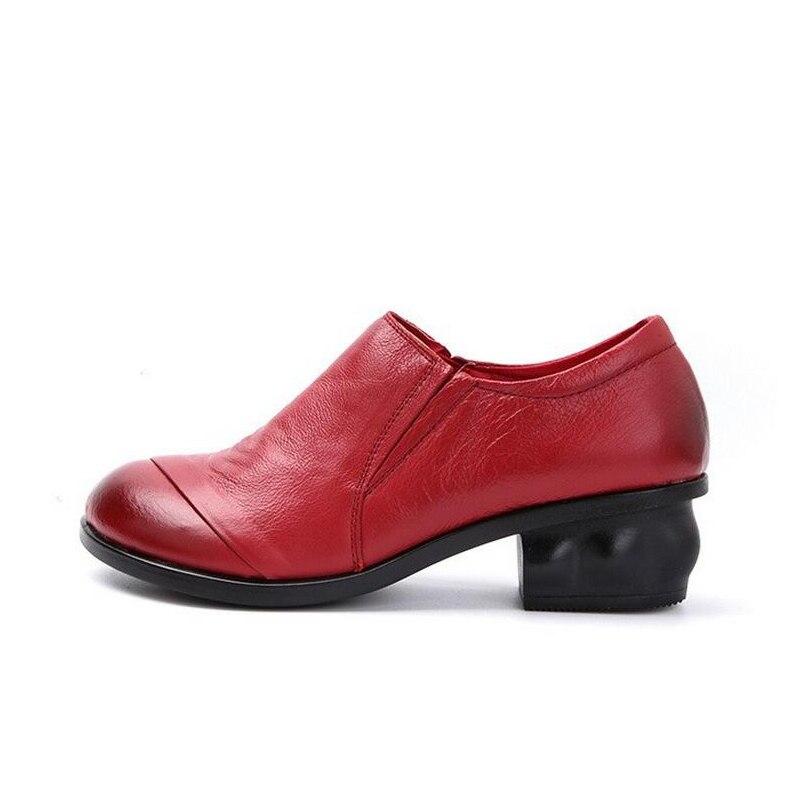 Épais Femmes jaune Robe Véritable Taille rouge Talons Noir 2018 Automne Beyarne 41 Med Cuir Printemps Chaussures Travail Pompes pqXxw5ntT