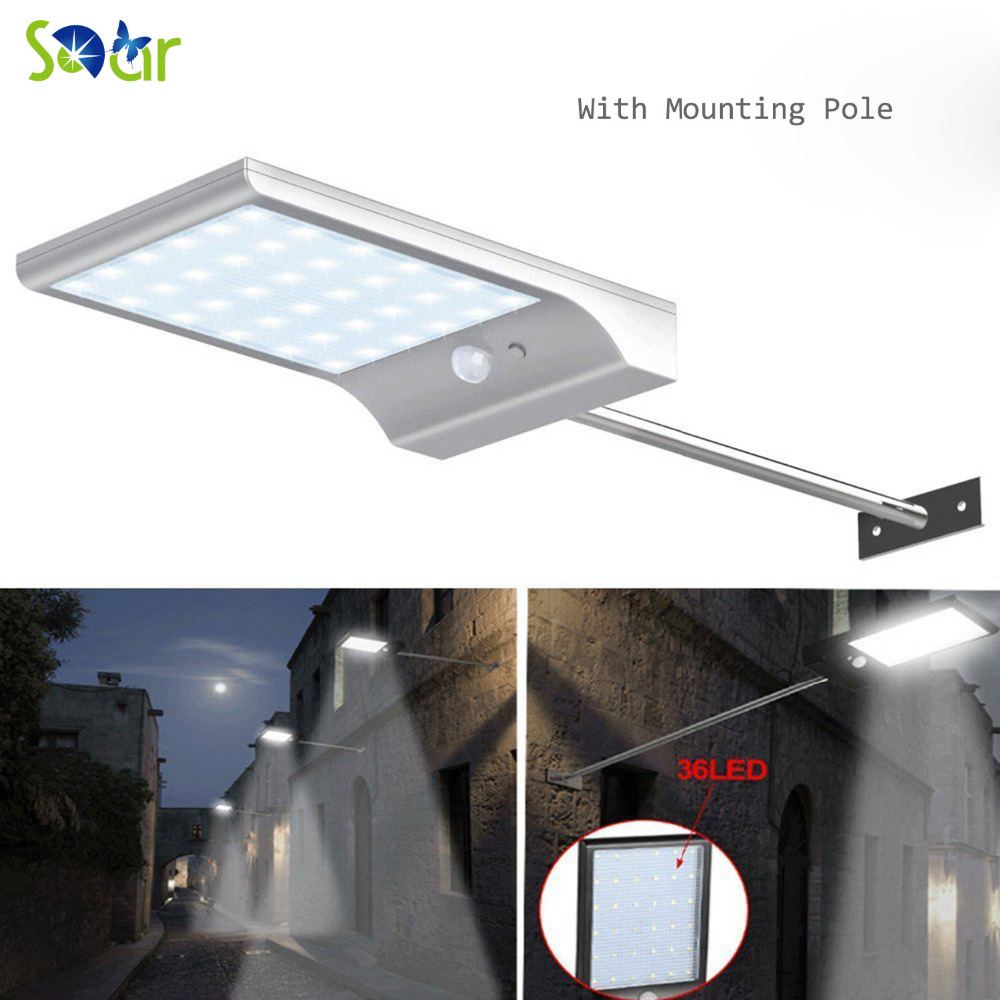 36 Led Street Solar Gutter Lights Wall Sconces With Mounting Pole 36led Outdoor Motion Sensor Detector