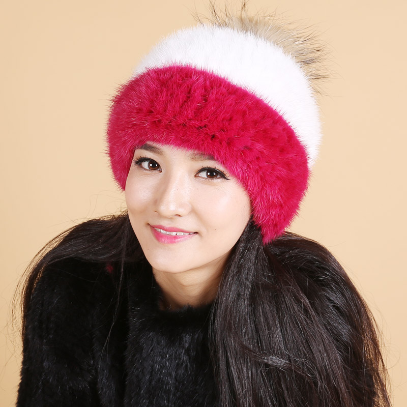 2017 New Fur Hats, Mink Knitted Hats, Winter Fashion Hair Ball Cap, Leisure Thermal Mink Fur Hat