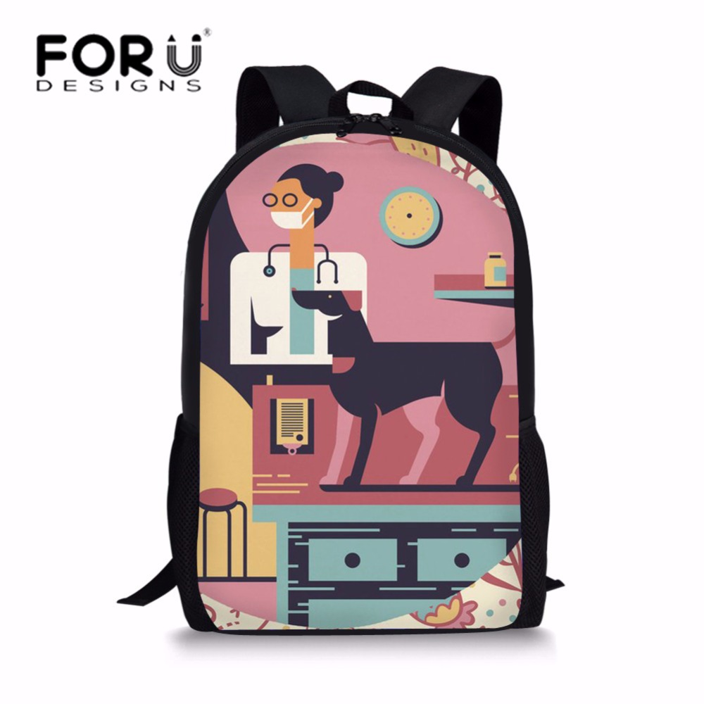 FORUDESIGNS Students School Bags for Girls Physical Therapy Schoolbag Children Doctor Pattern Shoulder Backpack Kids Bagpack