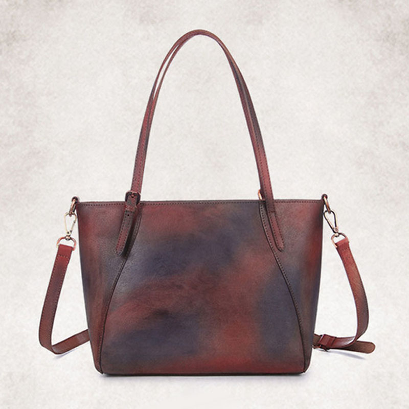 BULLCAPTAIN Vintage Genuine Leather Women Handbag High Quality Cowhide Casual Tote Bags Famous Brand Ladies Shoulder Bag bullcaptain high quality genuine leather vintage women messenger shoulder bag ladies floral cross body bags brand mini tote