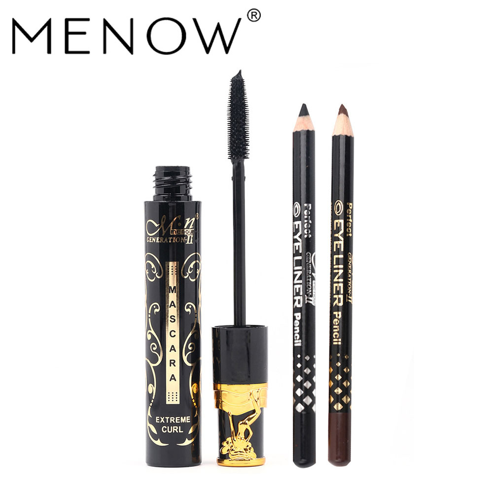 Cosmetics Eyes Makeup Set 3D Mascara With Silica Gel Brush+ 2 Pcs Black Brown Eyebrow Pencil Pen Beauty Make Up Beauty Tools