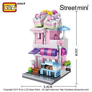 Image 4 - LOZ Mini cegły architektura Mini Model uliczny ciasto sklep sklep budynek montaż zabawka miasto plac zestaw bloku księgarnia prezent dla dzieci