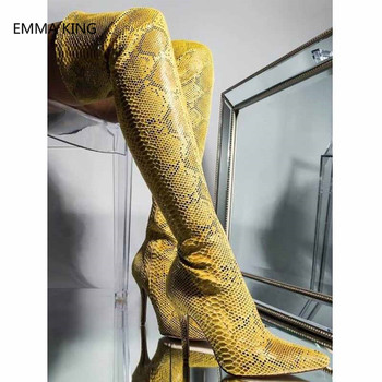 Bright Snakeskin Over the Knee Boots Women Sexy Pointed Toe Thigh High Long Boots Winter Shoes Women Stiletto Heels Footwear