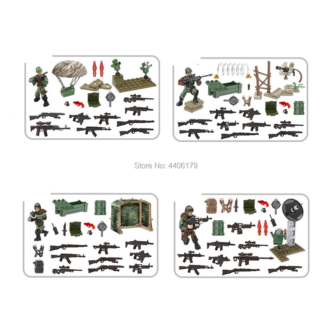 hot LegoINGlys military ww2 Airborne soldier Jungle assault war Building Blocks mini weapon figures brick toys for children gift