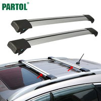 Partol 2Pcs Car Roof Rack Cross Bar Lock Anti Theft SUV Top 150LBS 68KG Aluminum Cargo
