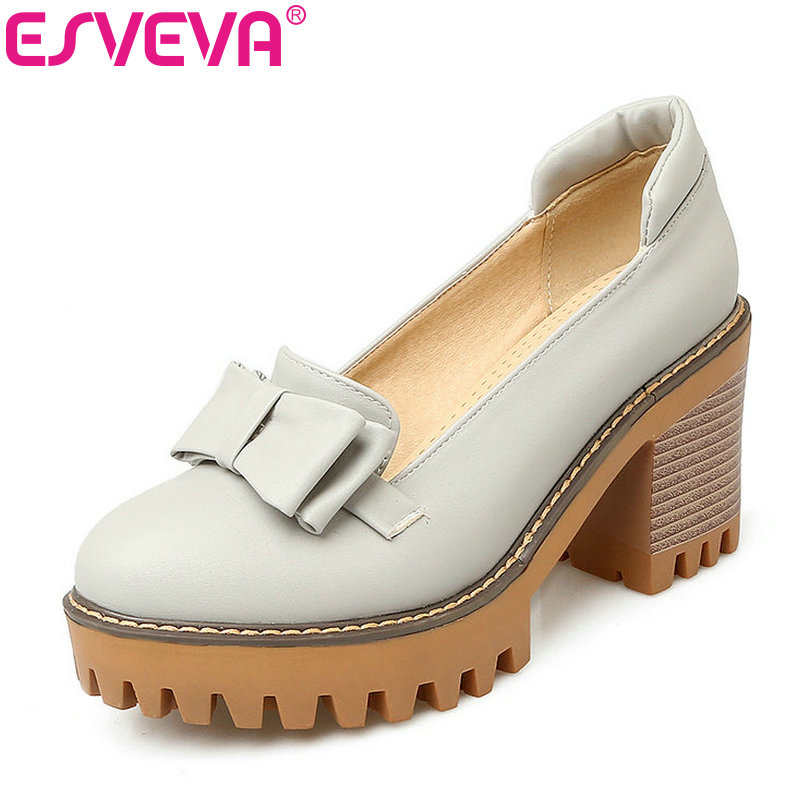 ESVEVA 2017 Soft PU Spring Autumn  Shoes Square High Heel Women Pumps Platform Sweet Style Bow Tie Leisure Shoes  Big Size 34-43 1m 2m micro usb endoscope camera 7mm lens otg android endoscope 720p waterproof snake cameras android phone 6 led