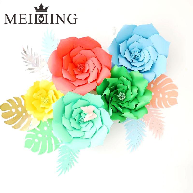 MEIDDING-2gab. Papīra ziedu fons, 20cm papīra ziedi Bērnu dzimšanas diena / Valentīna diena / kāzu svinības sienas dekors