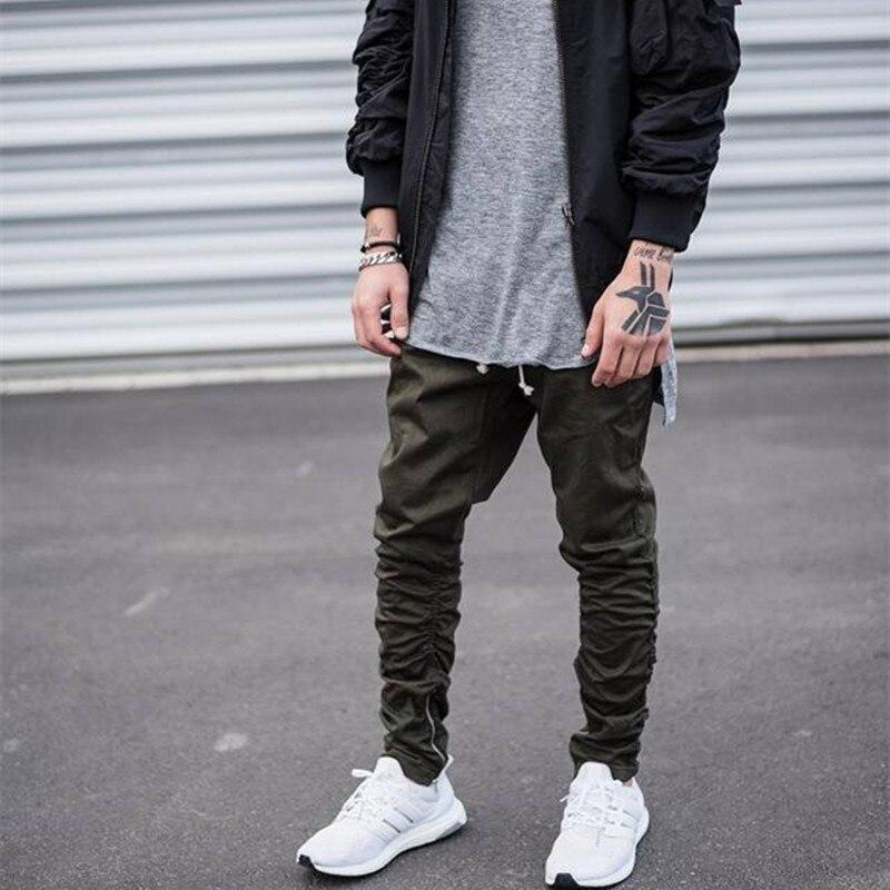 Бренд мужской стороны молнии тонкий случайные jogger брюки swag мужчины hip hop штаны тощий байкер бегунов брюки armygreen черный khaki