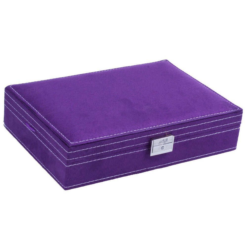 Image 2 - Lockable Wooden Capacity Large Jewelry Carrying Cases Purple Color Velvet Material Jewelry Storage Case Earring Ring Display Box-in Jewelry Packaging & Display from Jewelry & Accessories