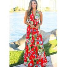 Womens Summer Boho Maxi Long Dress Evening Party Beach Dresses Sundress Floral Print Sexy Backless Dress D190502(China)