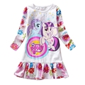 Baby Girls Summer Dress 2016 New Arrival Long Sleeve My Children Dress Cartoon Little Pony Print White Frock For 3-8 Years GD05