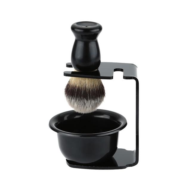 3 In 1 Shaving Soap Bowl +Shaving Brush+ Shaving Stand Bristle Hair Shaving Brush Men Beard Cleaning Tool Gift 1