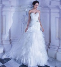 Free Shipping Mermaid Fitted Bodice Sweetheart  Tulle Sweep Train Fishtail Wedding Dress With Beadings WX11639