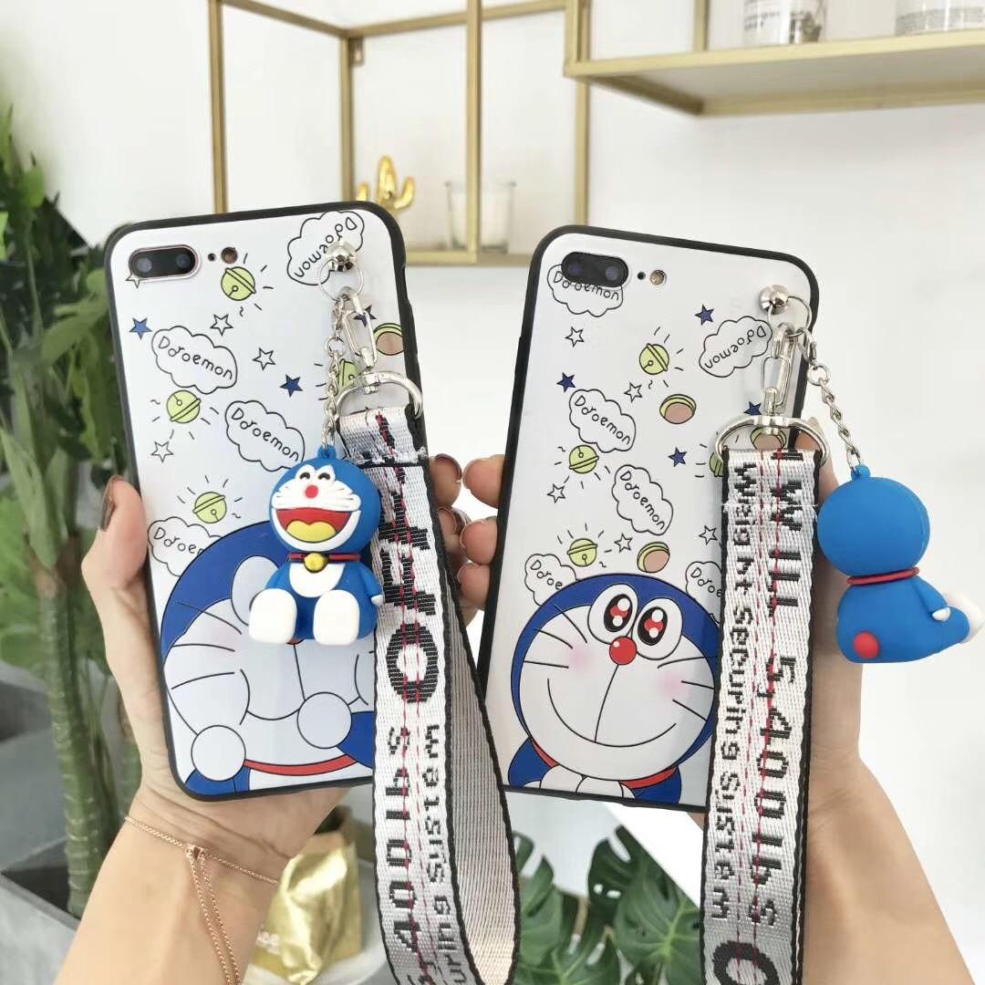 Fashion Robot Cat Doraemon Cute Case for Vivo X7 X9 X9s X20 V5 Lite V7 Plus Y66 Y67 Y75 Y79 Y85 V9 X21 UD Phone Bag with Lanyard