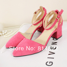 2014 Women's shoes pointed toe in low-heeled sandals thick heel size princess shoes