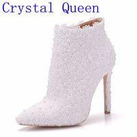 Cristallo Regina Della Moda Sexy Pizzo Bianco Della Signora Partito Prom Shoes Stivali Da Sposa Scarpe Abito Da Sposa Scarpe Da Donna