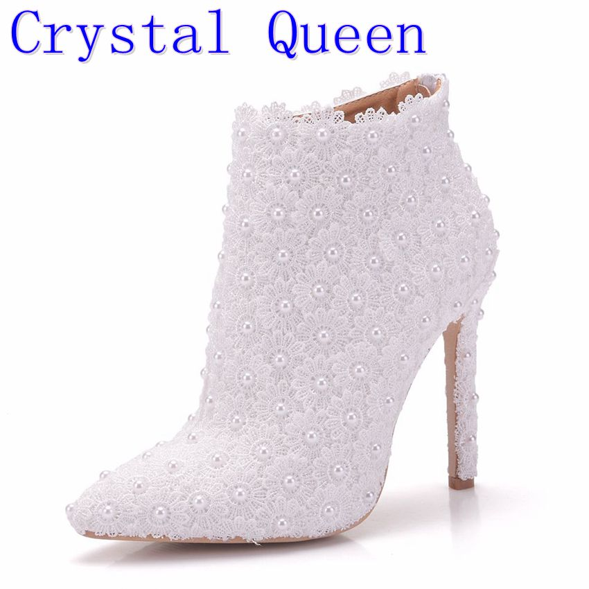 Crystal Queen Sexy Fashion White Lace Lady Party Prom Shoes Boots Wedding Shoes Bridal Dress Women Shoes fashion white lady peep toe shoes for wedding graduation party prom shoes elegant high heel lace flower bridal wedding shoes