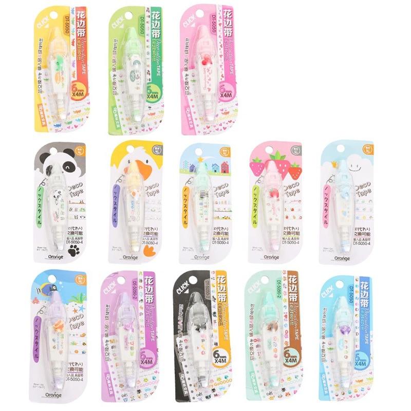 1Pc New Arrival Kawaii Animals Press Type Decorative Correction Tape Diary Stationery School Supply