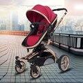 V-BABY  кожаная двухходовая коляска с высоким ландшафтным ударом  детская коляска  Легко складывающаяся переносная коляска