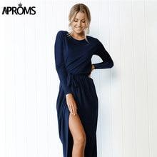 Aproms Solid Long Sleeve Shirt Dress Women Autumn 2018 Split Bow Tie Long  Maxi Dresses Casual a9a928851