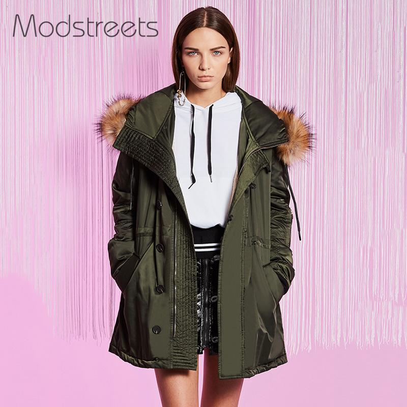 Modstreets Army Green Large Hooded Coat Warm Raccoon Fur Hooded Coat Parkas Outwear Long Thickening Clothes Winter Jacket Femme new 2015 autumn winter outdoors medium long fleece jacket fur hooded army green parka men thickening coat 10