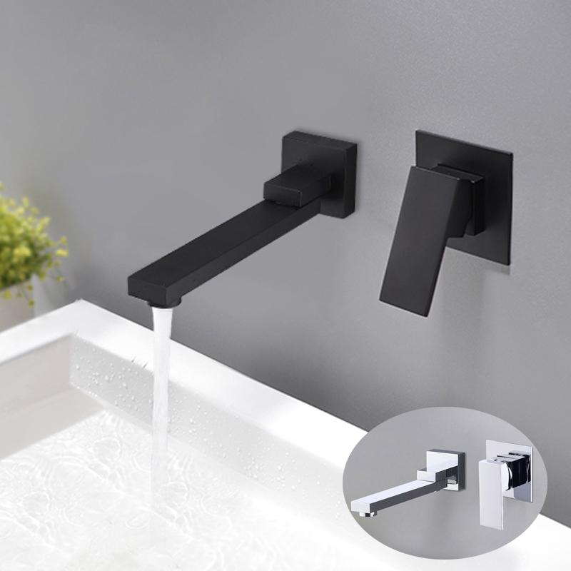 Bathroom Wall Mounted Basin Faucet Rotatable Bathtub Faucet Spout Water Mixer Valve Tap Sink Tapware Matte
