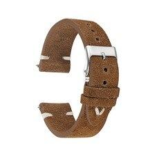 New Fashion 18mm 20mm 22mm Man Women Bracelet Handmade Suede Leather Brown Wrist Watch Band Strap Belt Watchbands KZSD08