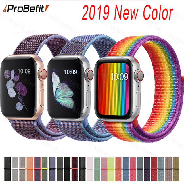 Banda para Apple Watch Series 3/2/1 38 MM 42 MM Nylon suave transpirable correa de repuesto deportivo bucle para serie iwatch 4 40 MM 44 MM