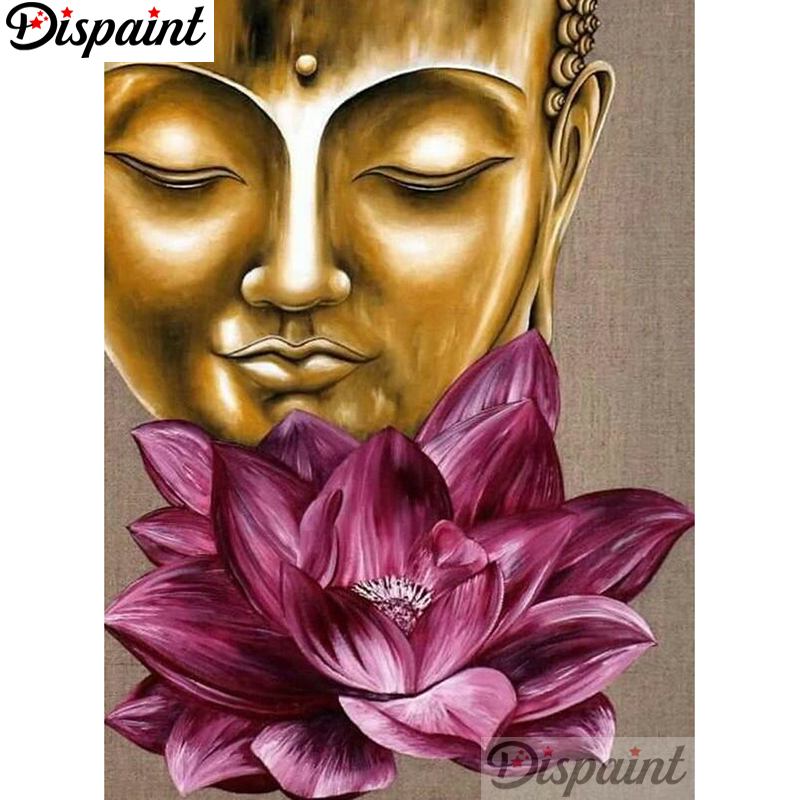 Dispaint Full Square Round Drill 5D DIY Diamond Painting quot Buddha statue quot Embroidery Cross Stitch 3D Home Decor A12930 in Diamond Painting Cross Stitch from Home amp Garden