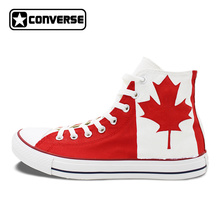 Canadian National Canada Flag Converse All Star Man Woman Shoes Red Maple Leaf Hand Painted High Top Canvas Sneaker Men Women(China)