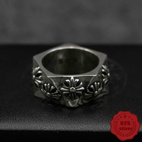 100% sterling silver ring personality fashion punk style wind domineering cross around rock and roll dance 2018 new hot sale