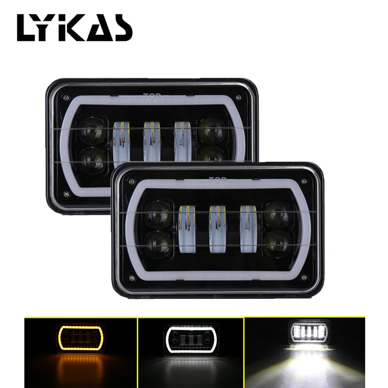 LYKAS 4x6 Car LED Headlights with DRL Amber Turn Signal Sealed High Low Beam Replacement For Chevrolet Ford Trucks Dodge 4x6 square high low beam led headlight reflector sealed beam replacement with drl for peterbil kenworth freightinger ford probe
