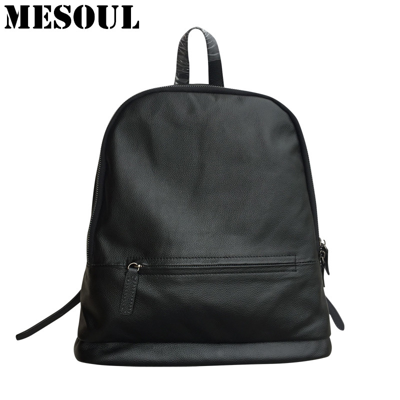Brand Backpack Bag Women Genuine Leather Daily School Bags Female Fashion Shoulder Travel Bags Black backpacks for teenage girls цена