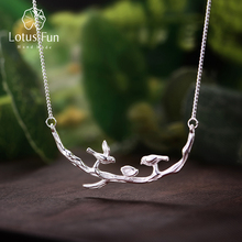 Lotus Fun Real 925 Sterling Silver Handmade Fine Jewelry Bird on Branches Necklace with Pendant Acessorios for Women Collier