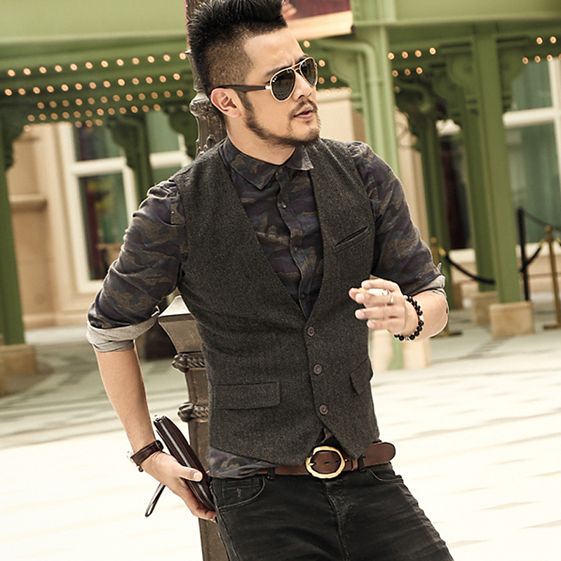 Men Casual Sleeveless Jacket Coat Mens Formal Waistcoats Dress Suit Vest Slim Three Button Woolen Vest British Suit Vest M87