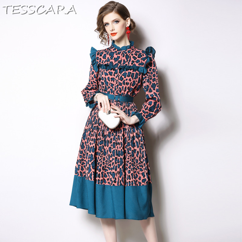TESSCARA Women Autumn Vintage Ruffle Dress Shirt Festa Female High Quality Fashion Designer Vestidos Elegant Party