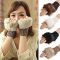 New Women warmer Winter Knitted Fingerless Fur Hand Gloves Mitten Crochet Braid