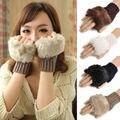 Novas Mulheres Inverno mais quente de Malha Luvas Sem Dedos De Pele Luvas Mitten Mão Crochê Trança