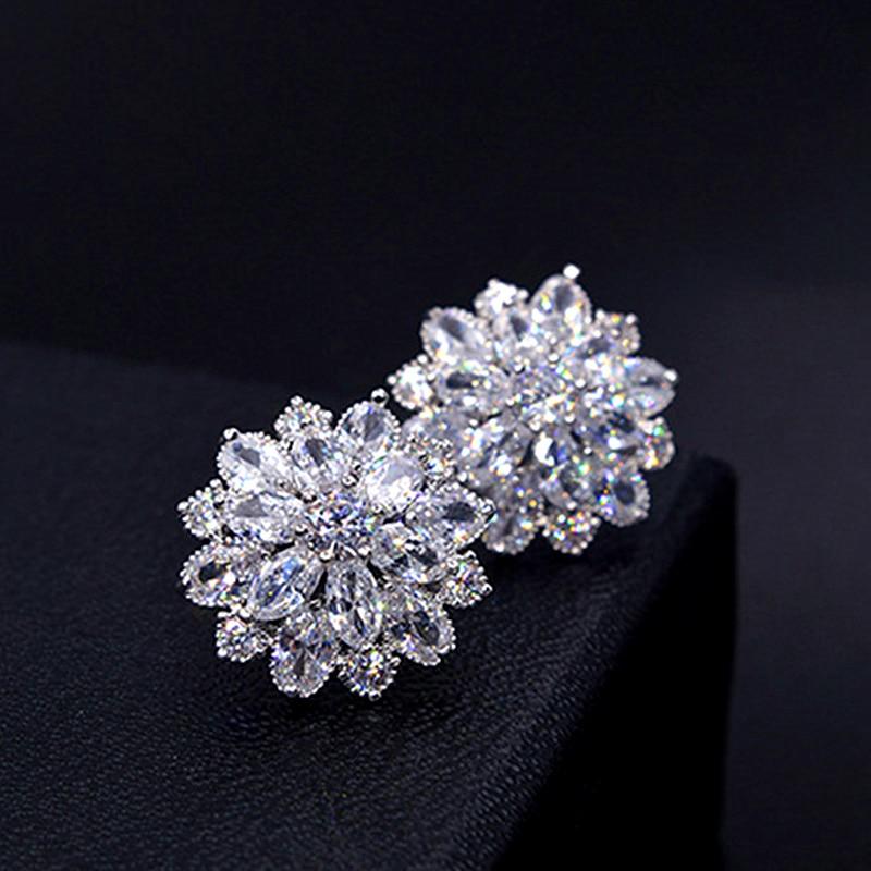 New Design Wedding Jewelry Luxury Clear AAA Austrian Zircon Earrings Elegant 925 Sterling Silver Flower Stud Earrings For Women pair of elegant gold plated zircon stud earrings for women
