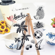 JC Clear Stamps for Scrapbooking Transparent Rubber Stamp Beach Coconut Tree Silicone Seals Craft Stencil Album Card Make Sheet