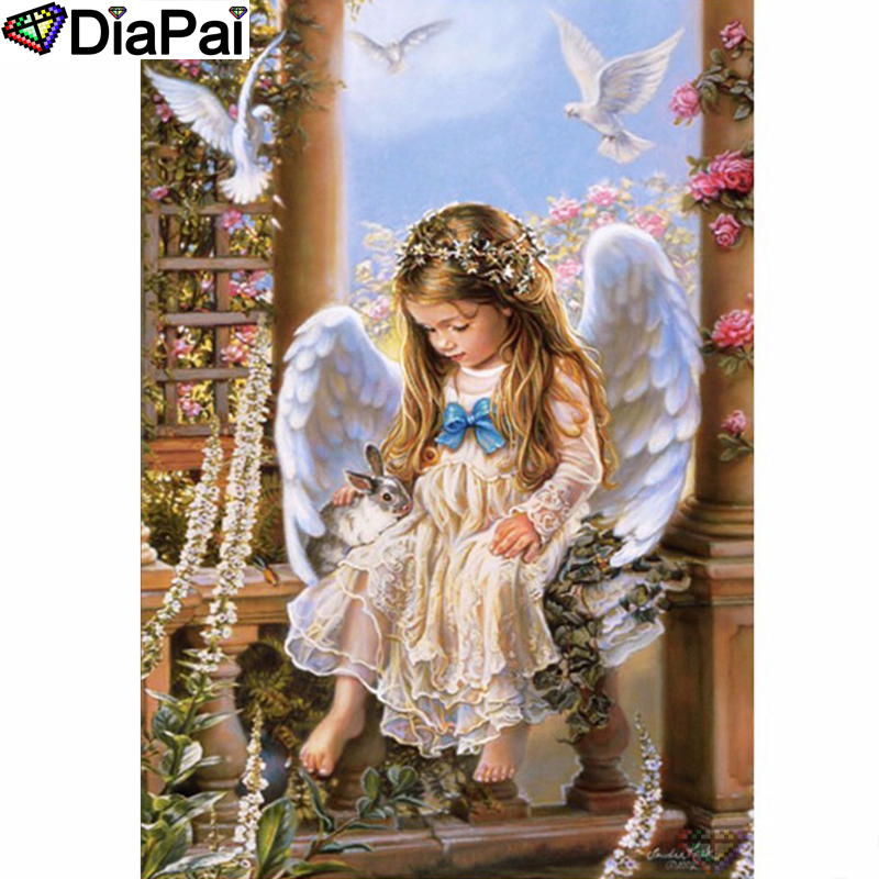 DIAPAI Diamond Painting 5D DIY 100 Full Square Round Drill quot Angel girl bird quot Diamond Embroidery Cross Stitch 3D Decor A24463 in Diamond Painting Cross Stitch from Home amp Garden