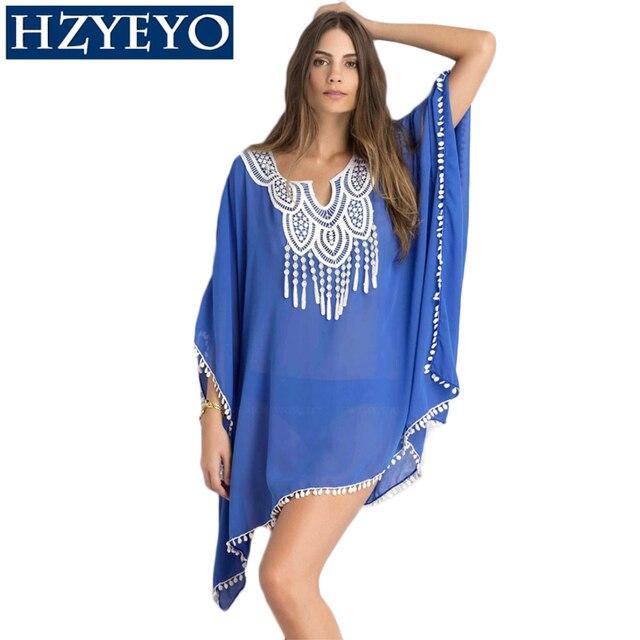 HZYEYO Swimwear Women White Blue Floral Swim Beach Cover-up Lines Crochet  Tunic Pareo 5eb144f16