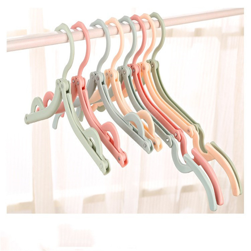 Doreen Box 2PCs Creative Hot Sale Portable Folding Clothes Hanger Travel Anti-slip Clothing Support For Home Drying Racks