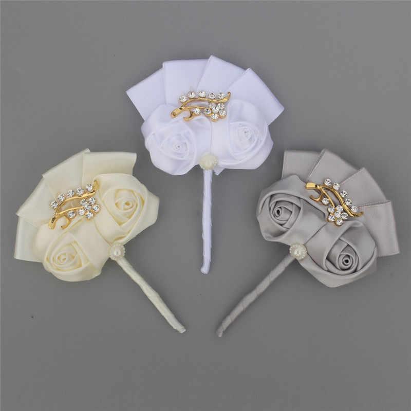 WifeLai-UN Golden Sposo Fiore All'occhiello Spille Promenade di Cerimonia Nuziale Bouquet di Fiori Artificiali spilla Da Sposa Spille Vestito fiore all'occhiello XH1317G