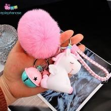 น่ารัก Plush Unicorn พวงกุญแจขนสัตว์ Pom Pom Fluffy Ball Bell Faux กระต่ายผมแหวน Kawaii ตุ๊กตาของเล่นสาวกระเป๋าจี้