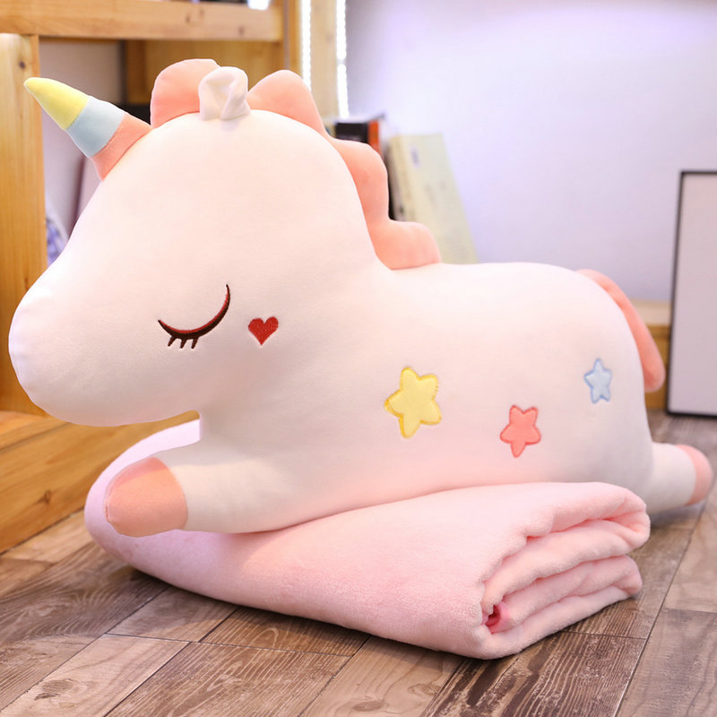 50-105cm Cute Unicorn Plush Stuffed Toy Unicorn Two-in-one Pillow Air Conditioning Blanket Kids Toys Home Decor Gift For Kids