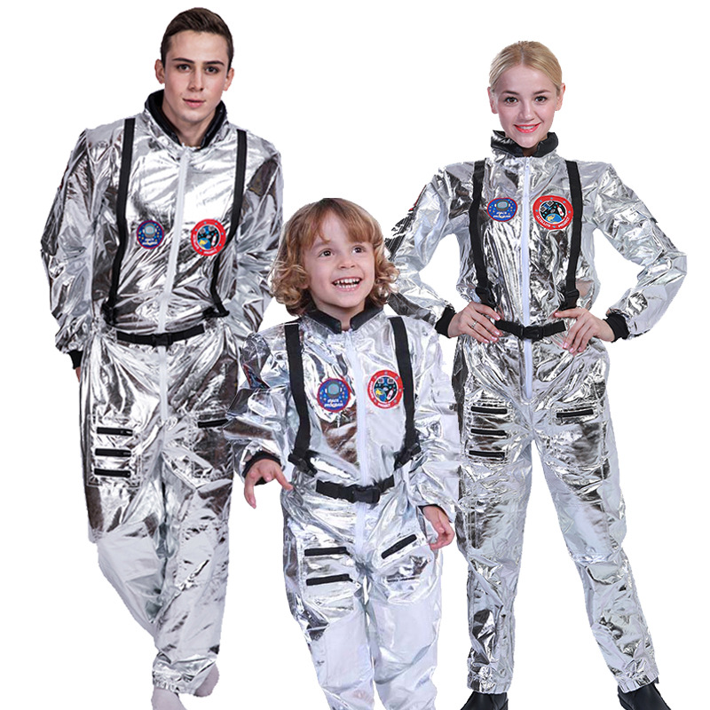 Space Suit for Men Adult Plus Size Astronaut Costume Silver Pilot Costumes Halloween Costume One Piece Jumpsuit Adult Costume