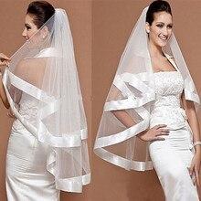 Новые свадебные аксессуары, фата атласная лента край 2 слоя белый/слоновая кость Свадебная Фата с расческой свадебная фата